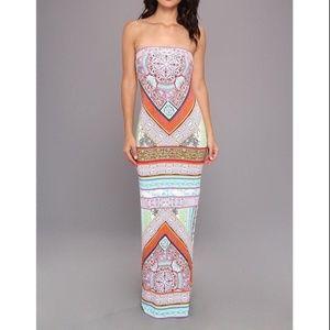 Hale Bob Blue Printed Strapless Maxi Dress XS NEW